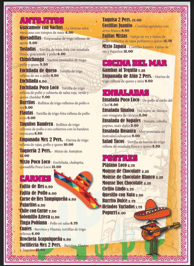 carta restaurante mexicano